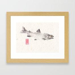 Brook Trout in Black - Gyotaku Framed Art Print