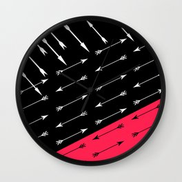 Red black , white pattern Arrow . Wall Clock