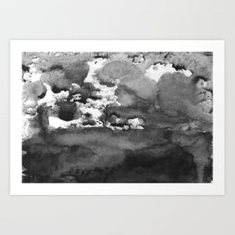 black white gray paint in monotype technique, abstract Art Print