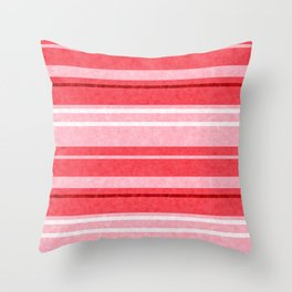 Red Grunge Stripes Texture Throw Pillow