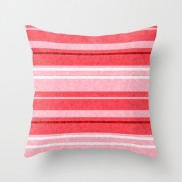 Red Grunge Stripes Texture Throw Pillow