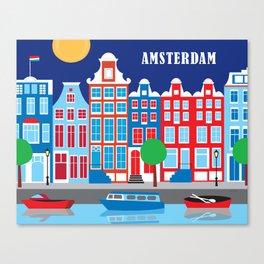 Amsterdam, Netherlands - Skyline Illustration by Loose Petals Canvas Print