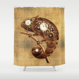 Steampunk Chameleon Vintage Style Shower Curtain