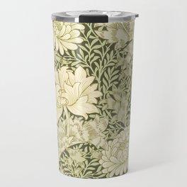 Vintage Floral in Green and Beige Travel Mug
