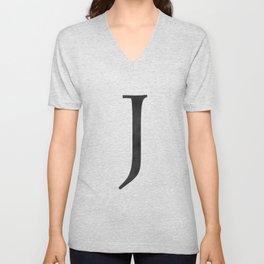 Letter J Initial Monogram Black and White Unisex V-Neck