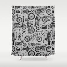 Vintage Motorcycle Pattern Shower Curtain ...
