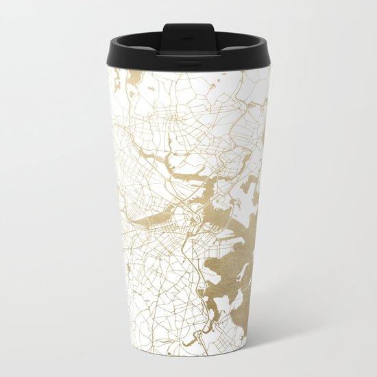 Boston White and Gold Map Metal Travel Mug