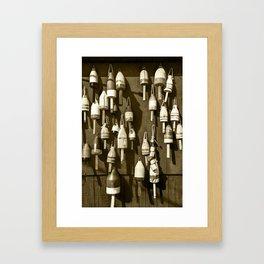Sepia Toned Photograph Of Maine Fishing Buoys Framed Art Print