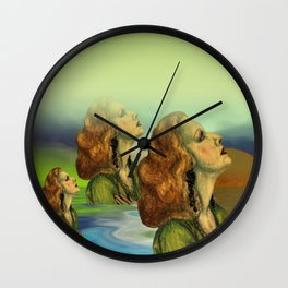 wíndow curtain lily - to the right side Wall Clock