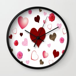Hearts and Roses Wall Clock