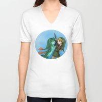 fishing V-neck T-shirts featuring Fishing by Phantasmic Dream