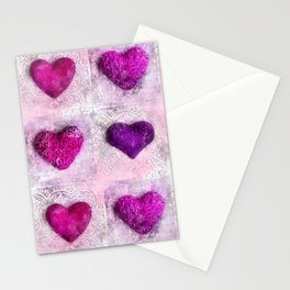 Pink Passion colorful heart pattern Stationery Cards