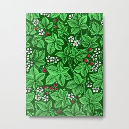 Art Nouveau Strawberries and Leaves, Emerald Green Metal Print