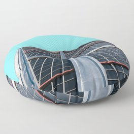 The Gate of Europe tower in Madrid Floor Pillow