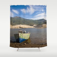 Boat At Water's Edge Shower Curtain