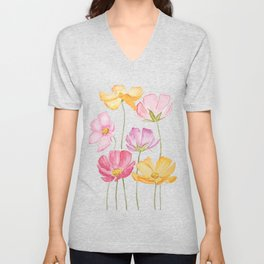 colorful cosmos flower Unisex V-Neck