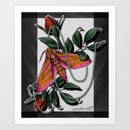 Hawk Moth Roses Art Print