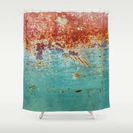Teal Rust Shower Curtain