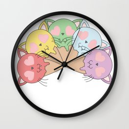 Kitty Ice Cream Rainbow Wall Clock