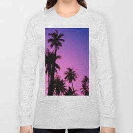 Tropical palm trees with purplish gradient Long Sleeve T-shirt