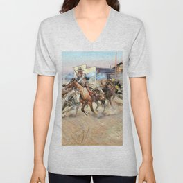 Smoke of a .45 - Charles Marion Russell Unisex V-Neck