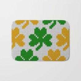 Shamrock pattern - white, green, orange Bath Mat