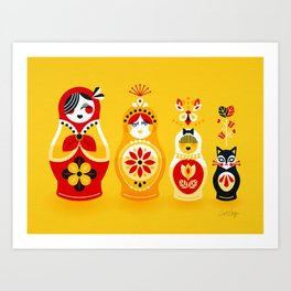 Russian Nesting Dolls – Yellow & Red Art Print