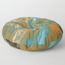 Orange Blue Green Pour Painting Floor Pillow