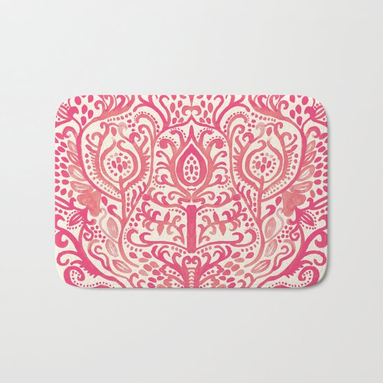 Strawberry and Cream Watercolor Tulip Damask Bath Mat