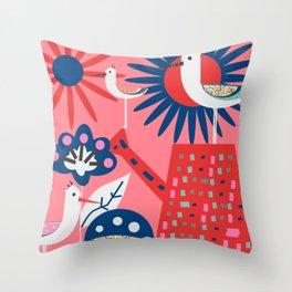Pink summer bird party Throw Pillow