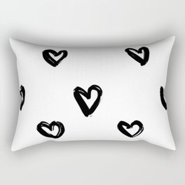 Hand Draw Hearts in Black on White Background Rectangular Pillow