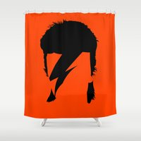 bowie Shower Curtains featuring BOWIE by eve orea