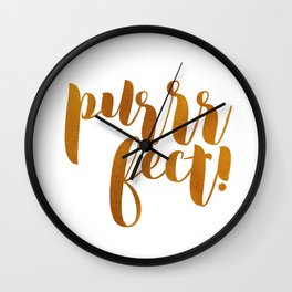 purrrfect! (golden) Wall Clock
