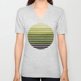 Olive Green Mid Century Modern Minimalist Scandinavian Colorful Stripes Geometric Pattern Round Circ Unisex V-Neck