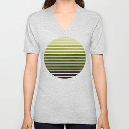 Olive Green Mid Century Modern Minimalist Scandinavian Colorful Stripes Geometric Pattern Round Circ Unisex V-Neck