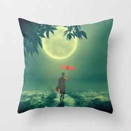 Gorgeous Little Shaolin Monk Umbrella Full Moon HD Throw Pillow