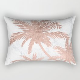 Tropical simple rose gold palm trees white marble Rectangular Pillow