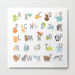 Animal Alphabet 6-4 Metal Print
