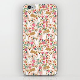 Corgi Florals - vintage corgi and florals gift great for corgi lovers iPhone Skin