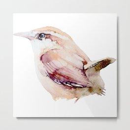 Watercolor Wren Painting Metal Print
