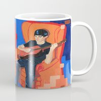 band Mugs featuring PIXEL BAND by Kevin Whipple