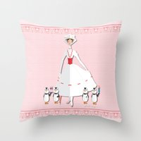 mary poppins Throw Pillows featuring Mary Poppins by AmadeuxArt