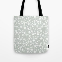Block Printed Gray Green and White Stars Tote Bag