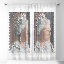 QUEEN ELIZABETH II STAMP Sheer Curtain