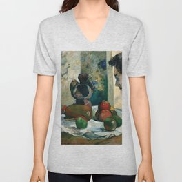 Still Life with Profile of Laval by Paul Gauguin Unisex V-Neck