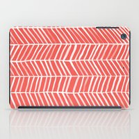 coral iPad Cases featuring Coral Herringbone by Cat Coquillette