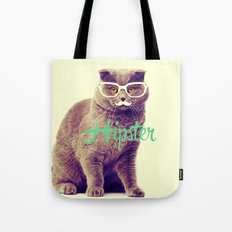 Turquoise Funny Cat Cute Hipster Glasses Mustache Tote Bag