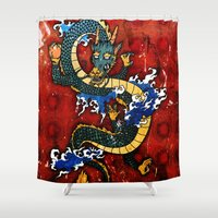 dragon Shower Curtains featuring Dragon by Spooky Dooky
