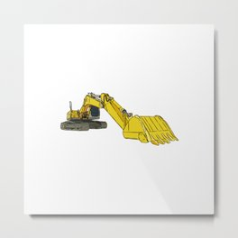 Yellow Backhoe Loader Metal Print