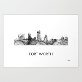 Fort Worth Texas Skyline WB BW Art Print